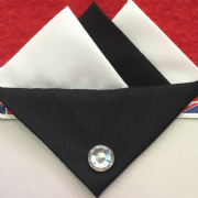 White and Black Hankie With Black Flap and Pin